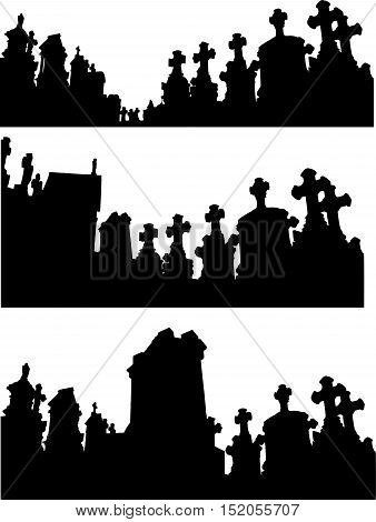collection of graveyard silhouettes in black over white