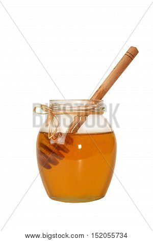 Delicious Sweet Honey In Glass Jar Isolated On White Background.