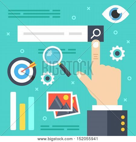 Internet search. Finger touching search button with magnifying glass, searching engine icons, elements. Web surfing, find websites, looking for information concepts. Modern flat vector illustration