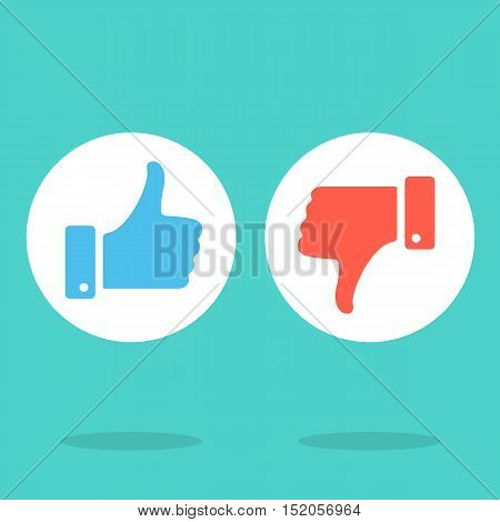 Like and dislike round icons set. Blue thumbs up and red thumbs down symbols in white circles. Modern vector icons