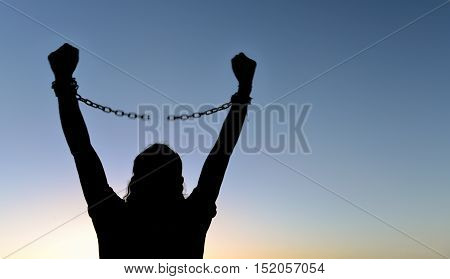 freedom & chains ;Break the chains to freedom.Accomplish and work hard.