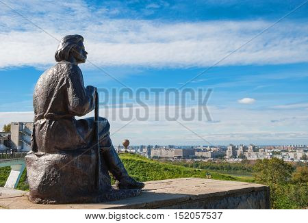 Monument to Maxim Gorky, mounted on Fedorovsky embankment in Nizhny Novgorod, presents us with great Russian writer in pensive pose creator. Established in 1957, the sculptor Shmagun. Russia, Nizhny Novgorod. September 12, 2016