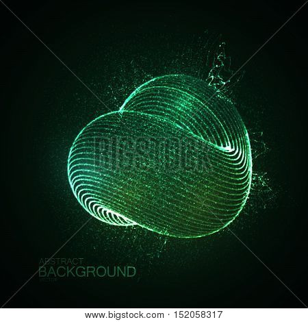3D abstract loop shape of illuminated particles. Futuristic vector illustration. Technology concept. Nano or microbiology vector. Physics concept