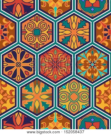 Vector seamless texture. Beautiful patchwork pattern for design and fashion with decorative elements in hexagon. Portuguese tiles Azulejo Spanish Moroccan ornaments
