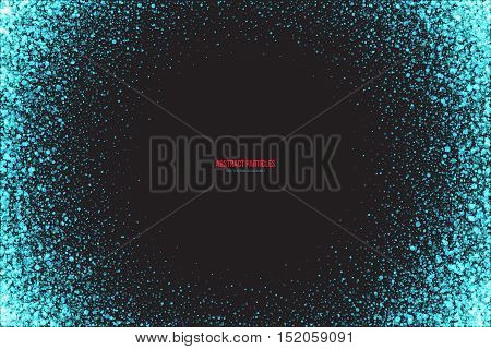 Abstract bright cyan shimmer glowing round falling particles vector background. Scatter shine tinsel light explosion effect. Sparkle blue dots. Celebration, holidays and party illustration