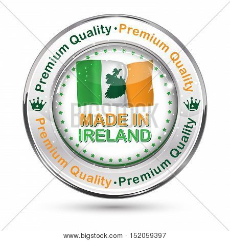 Made in Ireland,  Premium Quality - business commerce shiny icon with the Italian flag on the background. Suitable for retail industry.