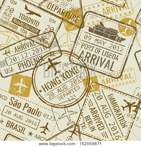 Vintage travel visa passport stamps vector seamless background. Tourism and official control in airport illustration