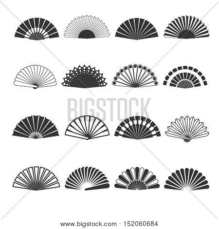 Hand fan vector icons. Oriental souvenir elegance, folding eastern accessory illustration