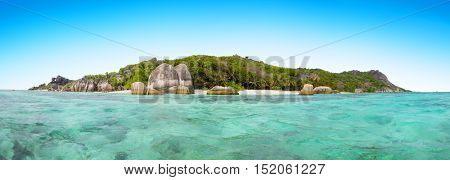 Beautiful Seychelles tropical beach Anse Source D Argent at La Digue island