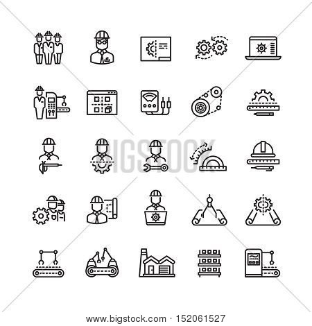 Vector industry engineering mechanical thin line icons. Conveyor machine and process production illustration