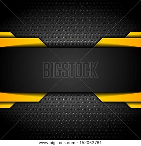 Black and orange design on dark metallic perforated background. Vector contrast illustration
