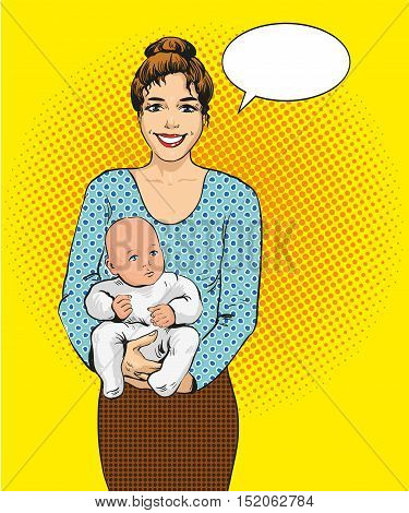 Woman holding a child vector illustration in retro pop art style. Mother with her kid comic design poster.