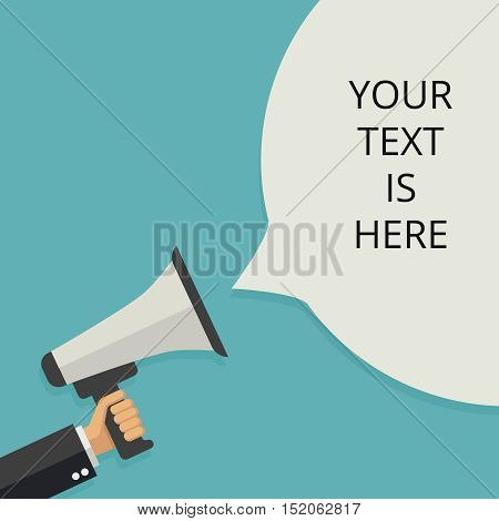 Businessmans hand holding megaphone. Social media marketing announcement vector flat concept. Announce news with use loudspeaker illustration