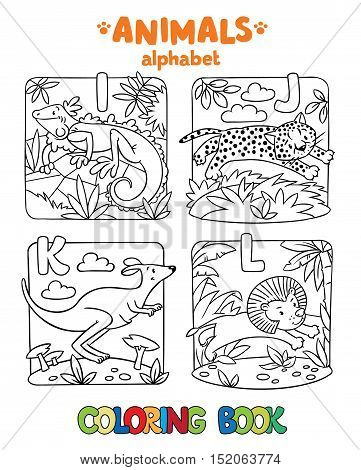Coloring book or coloring picture of funny iguana, jaguar, kangaroo and lion. Animals zoo alphabet or ABC.