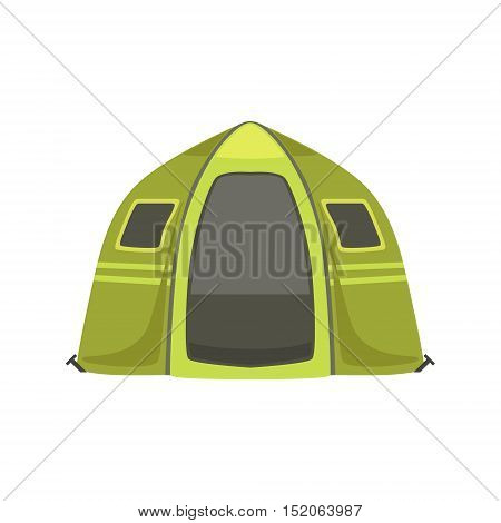 Small Green Bright Color Tarpaulin Tent. Simple Childish Vector Illustration Isolated On White Background