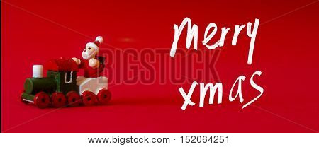Typical German Wooden Decoration For Christmas Time Of A Man Upon A Train. Handwritten