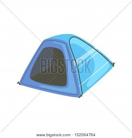 Small Blue Bright Color Tarpaulin Tent. Simple Childish Vector Illustration Isolated On White Background