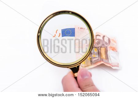 Magnifying Glass With Fifty Euros