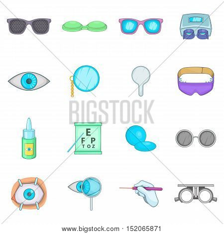 Ophthalmologist icons set. Cartoon illustration of 16 Ophthalmologist vector icons for web