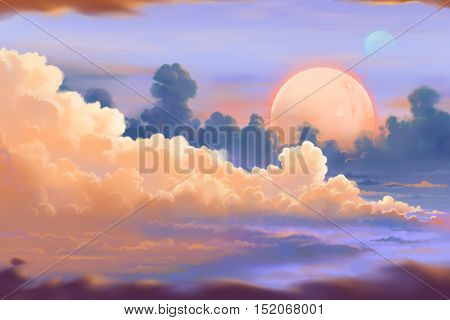 Fantastic and Exotic Allen Planet's Environment: The Cloudscape. Video Game's Digital CG Artwork, Concept Illustration, Realistic Cartoon Style Background