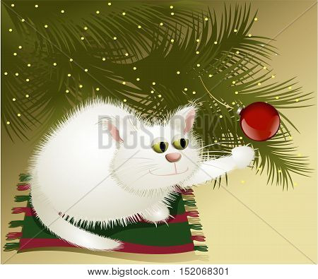 White Christmas cat under Christmas treet - vector illustration