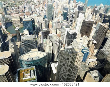 View of the city of Chicago from large and high building.