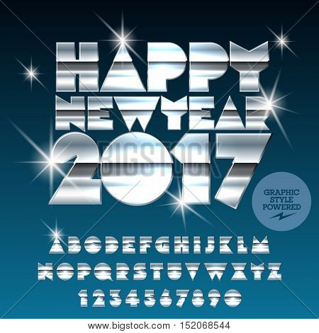 Vector silver glossy Happy New Year 2017 greeting card with set of letters, symbols and numbers. File contains graphic styles