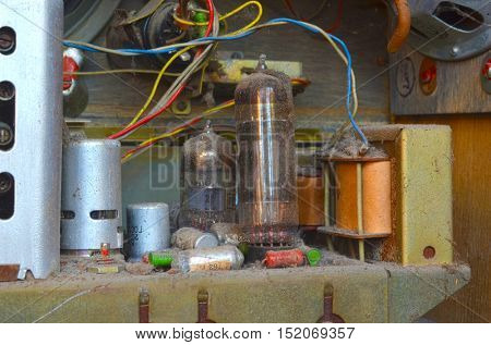 ILLUSTRATIVE EDITORIAL.Vintage Soviet  radio components close up.October 15,2016 Kiev, Ukraine