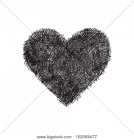 Hand drawn vector heart on white background