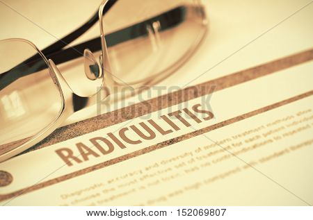 Radiculitis - Medicine Concept with Blurred Text and Glasses on Red Background. Selective Focus. 3D Rendering.