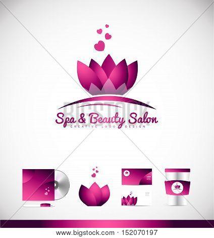 Spa beauty salon lotus flower vector logo icon sign design template corporate identity