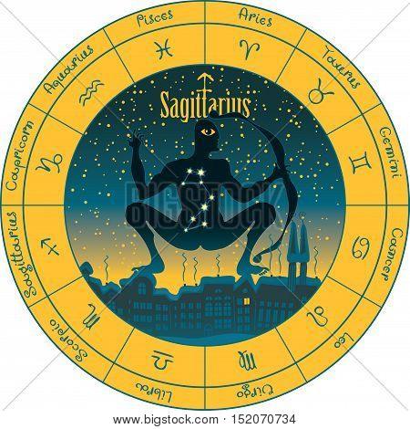 sagittarius on the background urban night landscape and the starry sky in circle with the signs of the zodiac