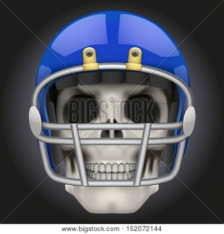 Human skull with american football player helmet. Sport mascot or football game symbol. Vector Illustration isolated on dark background