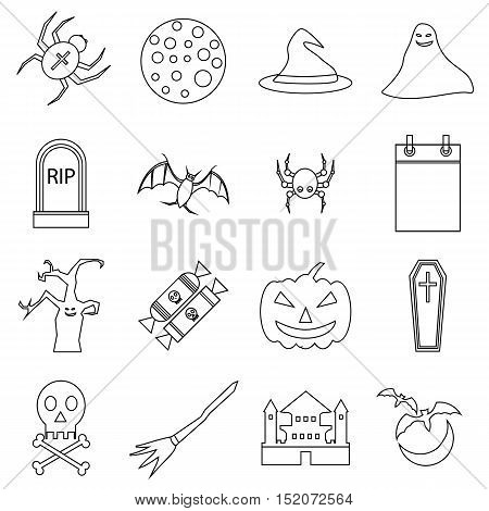 Haloween icons set. Outline illustration of 16 Haloween vector icons for web