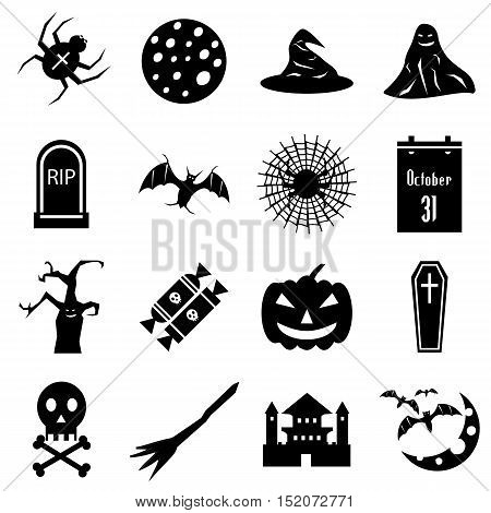 Haloween icons set. Simple illustration of 16 Haloween vector icons for web