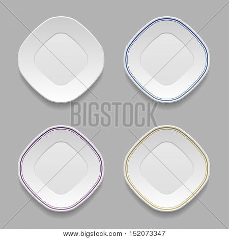 white squared plates vector