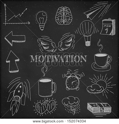 Vector - Hand drawn vector illustration set of motivation and buisness sign and symbol doodles elements black chalkboard background.