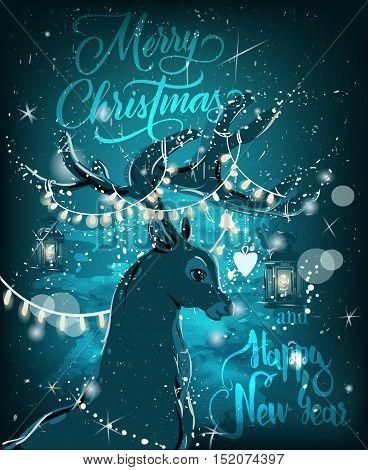 magic night christmas deer. vector illustration. christmas card