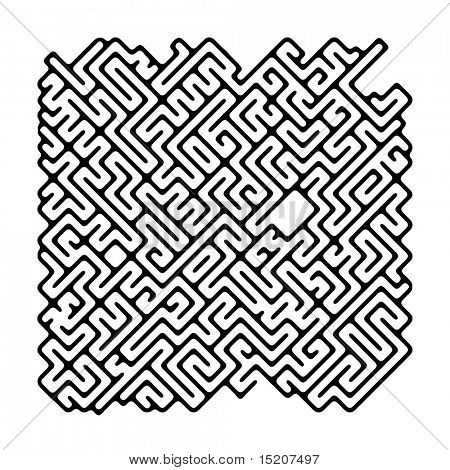 An image of a nice black and white maze. Will you find the way?