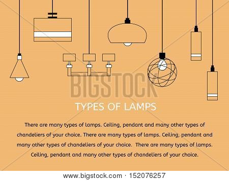 A collection of ceiling lights. Lighting and Interior