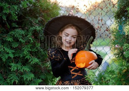 Halloween. The girl is dressed in a dark dress and a hat. She holds orange pumpkin lamp in hand. The baby represents the sorcerer. On a face of the little girl a mysterious smile.