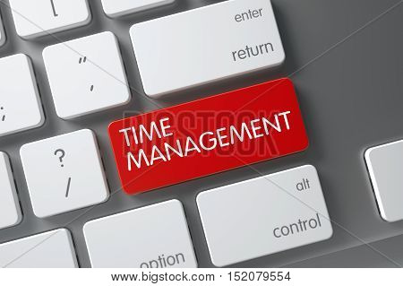 Time Management Concept: Metallic Keyboard with Time Management, Selected Focus on Red Enter Button. 3D Render.