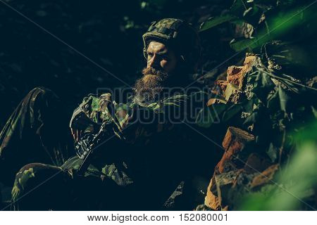 Young Soldier With Gun