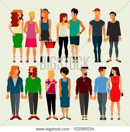 Vector Flat Illustration of Society Members with a Large Group of Young Men and Women. Population.