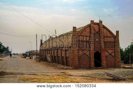 Mudhif the traditional house of Marsh arabs aka madan. Iraq
