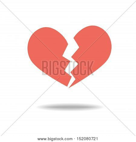 Red heartbreak / broken heart or divorce flat icon for apps and websites