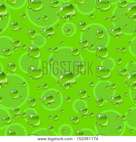 Seamless pattern. Dew drops on green background. Vector illustration.