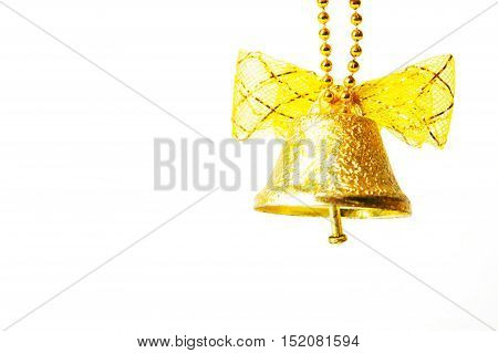 Christmas Gold Bell Isolated On A White Background