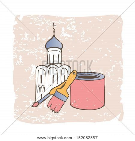 Restoration of Orthodox Christian Church. Vector illustration