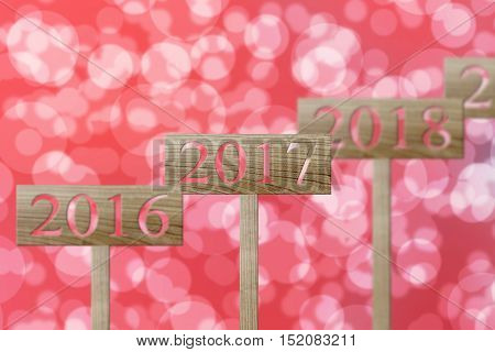 most obvious of sign wooden in number 2017concept of new year on Two thousand and seventeen.